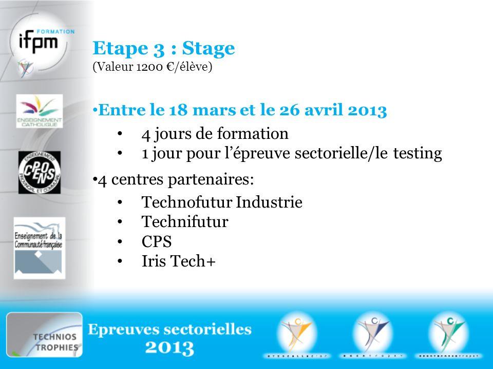 Etape 3 : Stage (Valeur 1200 /élève) Entre le 18 mars et le 26 avril 2013 4 jours de formation 1 jour pour lépreuve sectorielle/le testing 4 centres partenaires: Technofutur Industrie Technifutur CPS Iris Tech+