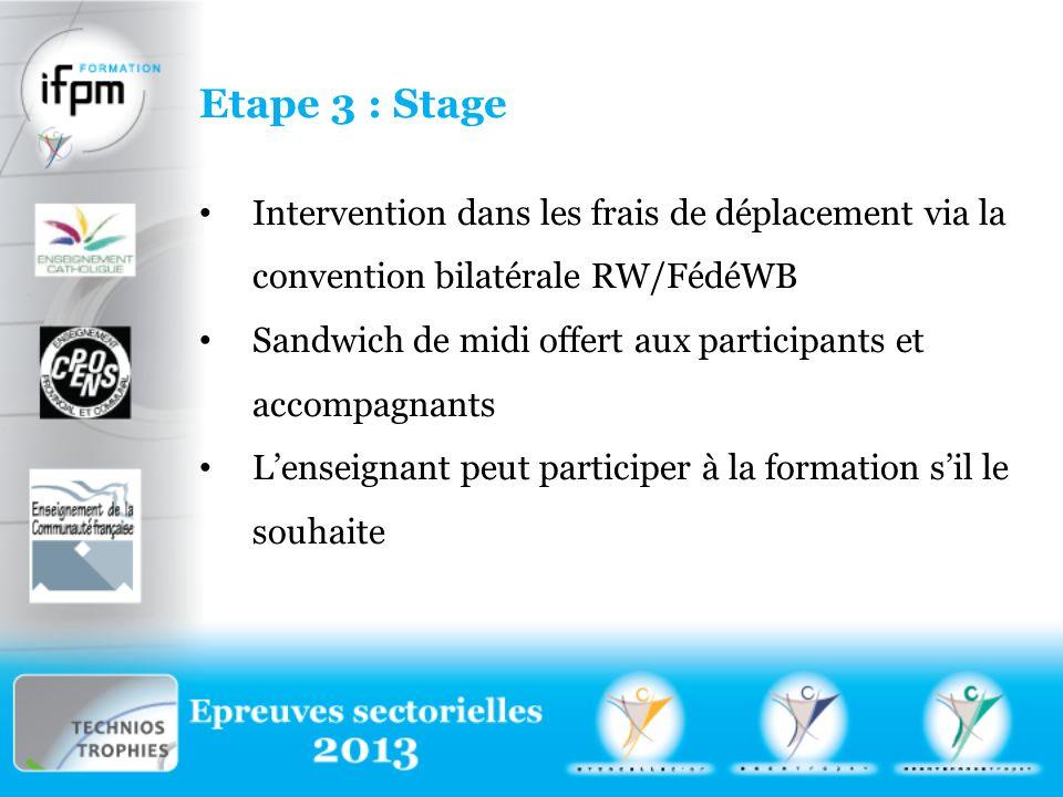 Etape 3 : Stage Intervention dans les frais de déplacement via la convention bilatérale RW/FédéWB Sandwich de midi offert aux participants et accompagnants Lenseignant peut participer à la formation sil le souhaite