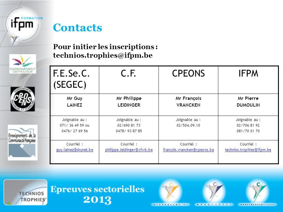 F.E.Se.C. (SEGEC) C.F.CPEONSIFPM Mr Guy LAINEZ Mr Philippe LEIDINGER Mr François VRANCKEN Mr Pierre DUMOULIN Joignable au : 071/ 36 49 59 ou 0476/ 27