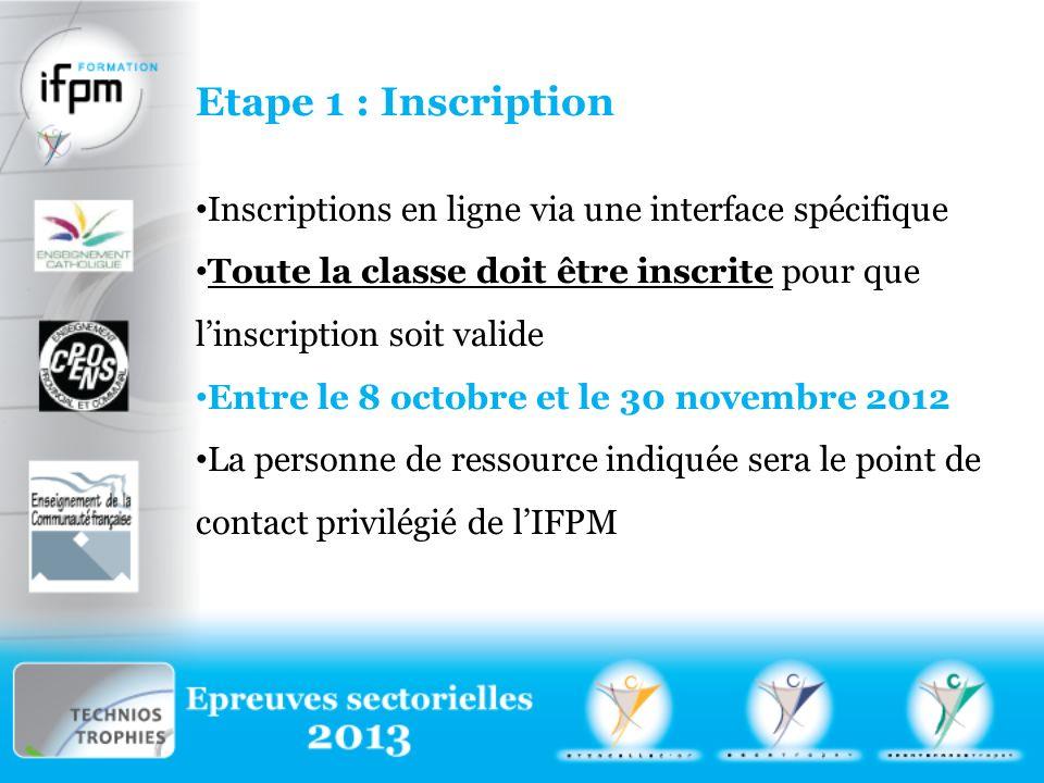 Etape 1 : Inscription Inscriptions en ligne via une interface spécifique Toute la classe doit être inscrite pour que linscription soit valide Entre le 8 octobre et le 30 novembre 2012 La personne de ressource indiquée sera le point de contact privilégié de lIFPM