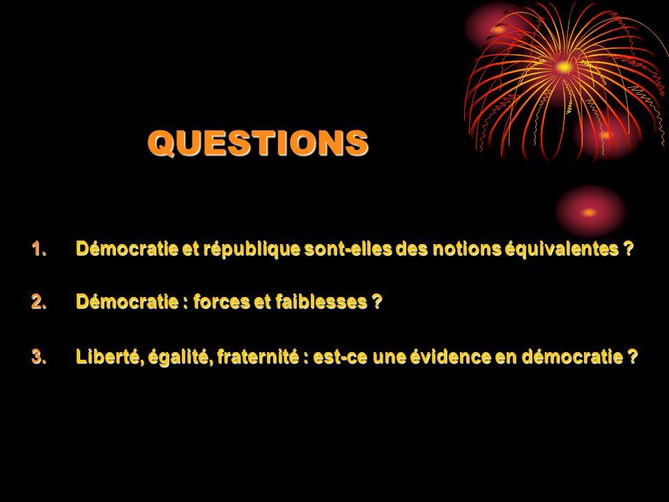 QUESTIONS 1.Démocratie et république sont-elles des notions équivalentes ? 2.Démocratie : forces et faiblesses ? 3.Liberté, égalité, fraternité : est-