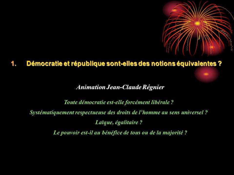 1.Démocratie et république sont-elles des notions équivalentes ? Animation Jean-Claude Régnier Toute démocratie est-elle forcément libérale ? Systémat
