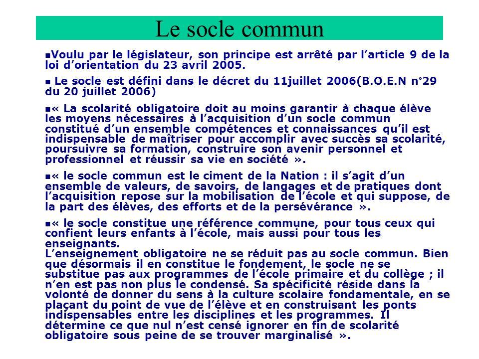 Le socle commun Voulu par le législateur, son principe est arrêté par larticle 9 de la loi dorientation du 23 avril 2005.