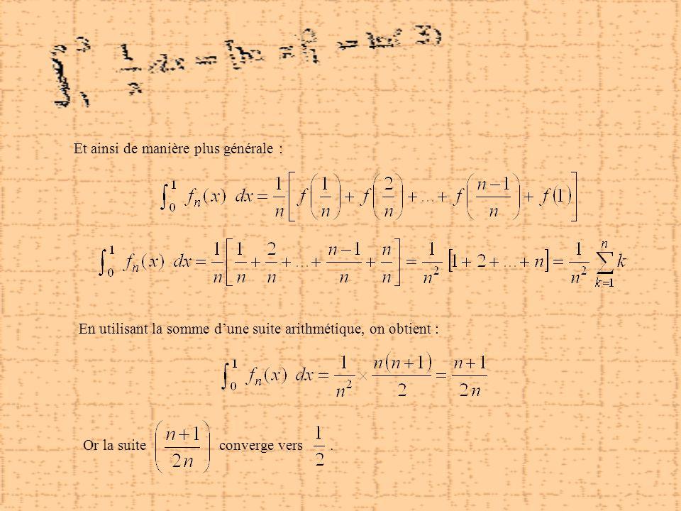 Et ainsi de manière plus générale : En utilisant la somme dune suite arithmétique, on obtient : Or la suiteconverge vers.