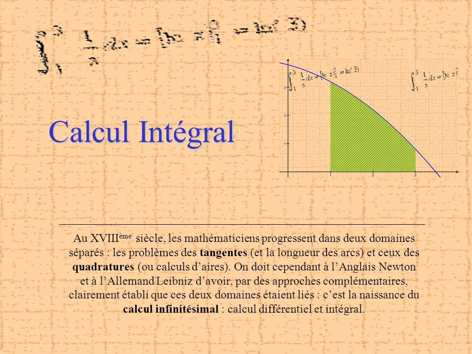 Calcul Intégral Au XVIII ème siècle, les mathématiciens progressent dans deux domaines séparés : les problèmes des tangentes (et la longueur des arcs)