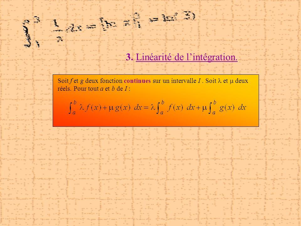 3. Linéarité de lintégration. Soit f et g deux fonction continues sur un intervalle I. Soit et deux réels. Pour tout a et b de I :