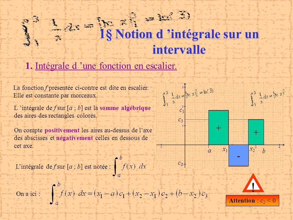 1. Intégrale d une fonction en escalier. La fonction f présentée ci-contre est dite en escalier. Elle est constante par morceaux. L intégrale de f sur
