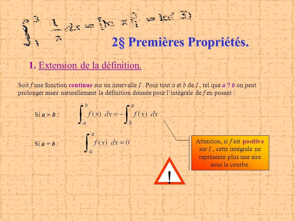 2§ Premières Propriétés. 1. Extension de la définition. Soit f une fonction continue sur un intervalle I. Pour tout a et b de I, tel que a b on peut p