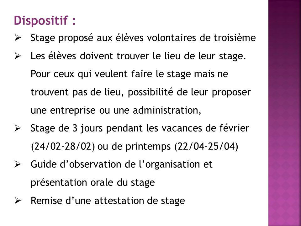 Dispositif : Stage proposé aux élèves volontaires de troisième Les élèves doivent trouver le lieu de leur stage. Pour ceux qui veulent faire le stage