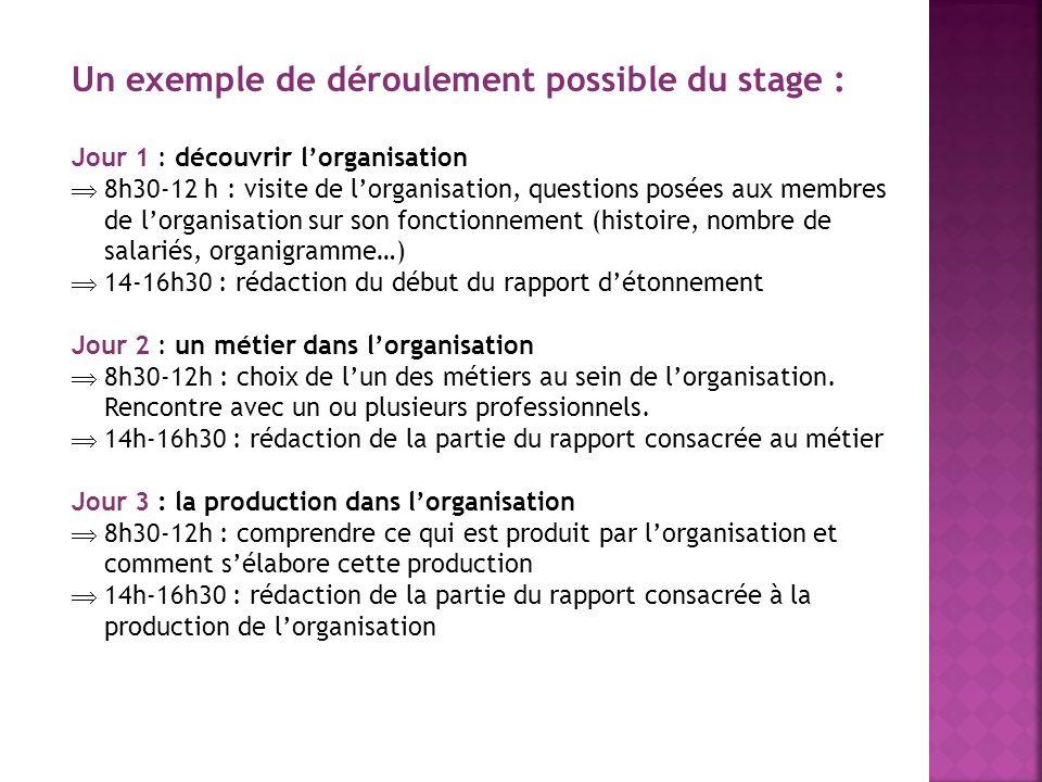 Un exemple de déroulement possible du stage : Jour 1 : découvrir lorganisation 8h30-12 h : visite de lorganisation, questions posées aux membres de lo