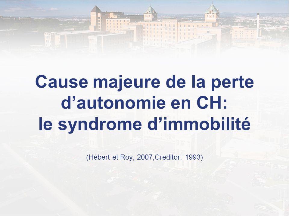 Cause majeure de la perte dautonomie en CH: le syndrome dimmobilité (Hébert et Roy, 2007;Creditor, 1993)