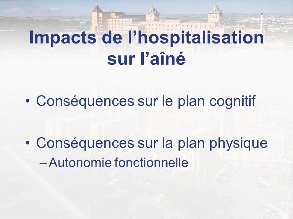Impacts de lhospitalisation sur laîné Conséquences sur le plan cognitif Conséquences sur la plan physique –Autonomie fonctionnelle