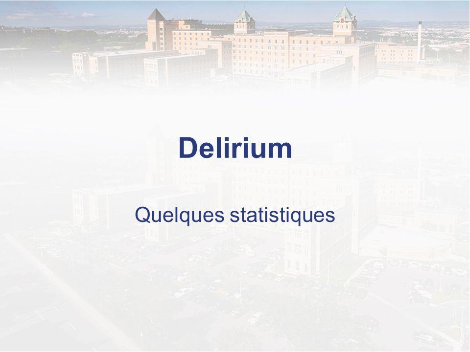 Ampleur du problème (Andrew et al., 2006; Inouye 2006; Voyer et al., 2006) Domicile –0,5% des aînés non déments sont atteints de delirium CH –10 à 24 % des aînés sont en delirium au moment de leur arrivée à lhôpital –5 à 65 % des aînés développeront un delirium en cours dhospitalisation CHSLD –10 à 50% des aînés hébergés en CHSLD sont atteints dun delirium