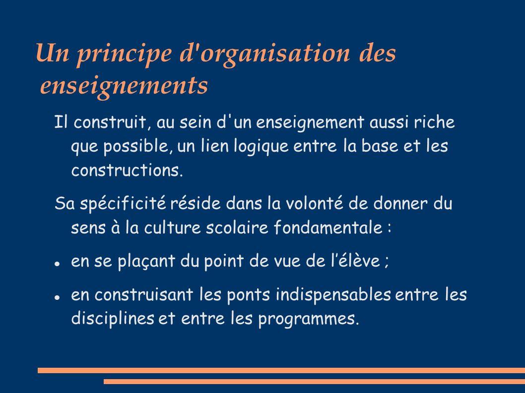 Un principe d organisation des enseignements Il construit, au sein d un enseignement aussi riche que possible, un lien logique entre la base et les constructions.