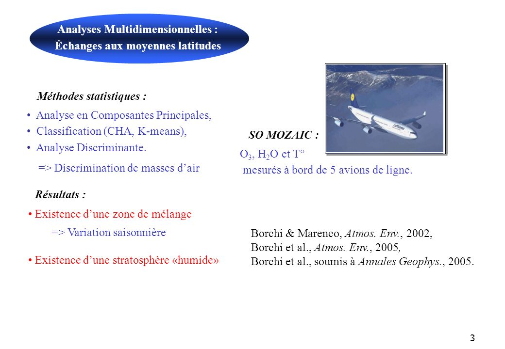 3 Méthodes statistiques : Analyse en Composantes Principales, Classification (CHA, K-means), Analyse Discriminante.