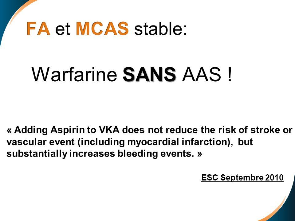SANS Warfarine SANS AAS ! « Adding Aspirin to VKA does not reduce the risk of stroke or vascular event (including myocardial infarction), but substant