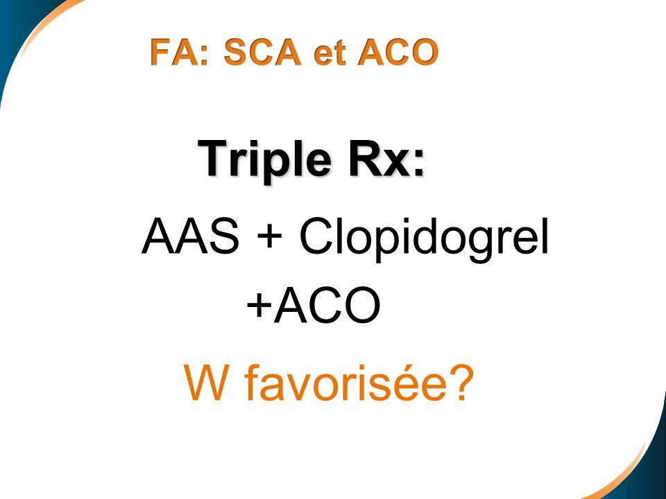 Triple Rx: AAS + Clopidogrel +ACO W favorisée?