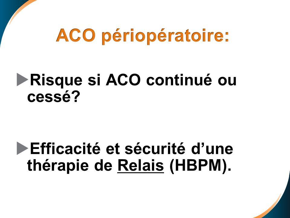 Risque si ACO continué ou cessé? Efficacité et sécurité dune thérapie de Relais (HBPM).
