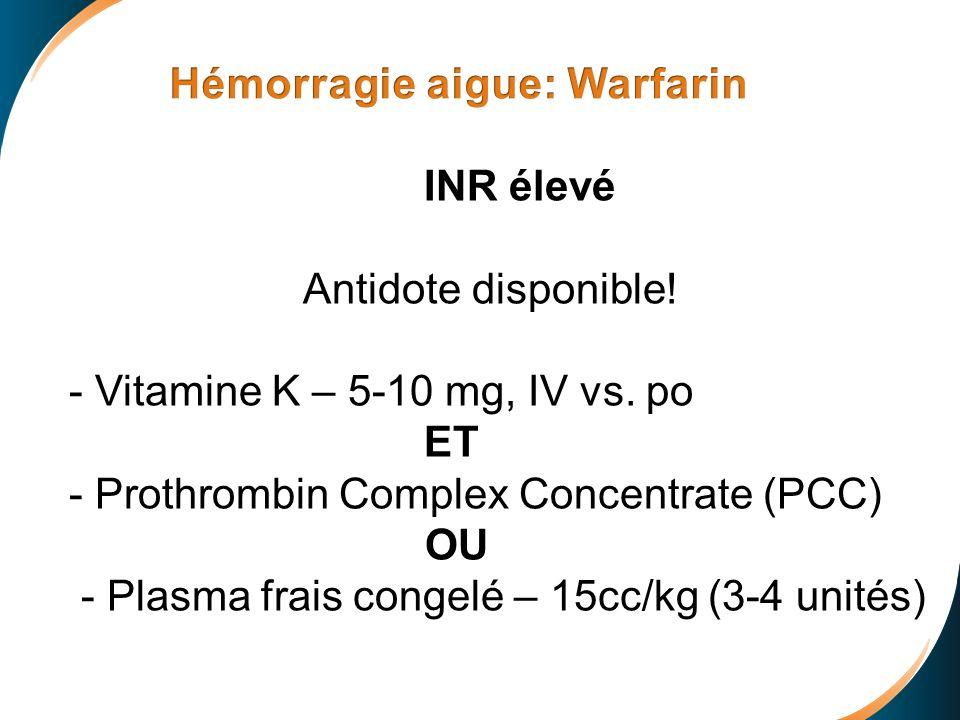 Prothrombinase + Antidote Prothrombin Thrombin + Inactive prothrombinase FXa Inhibitor- Antidote Complex INR élevé Antidote disponible! - Vitamine K –