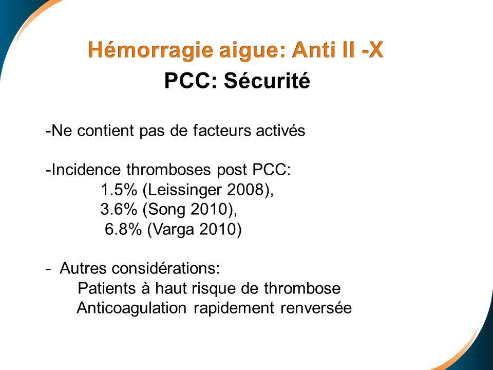 Prothrombinase + Antidote Prothrombin Thrombin + Inactive prothrombinase FXa Inhibitor- Antidote Complex PCC: Sécurité -Ne contient pas de facteurs ac
