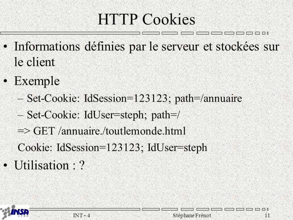 Stéphane Frénot11INT - 4 HTTP Cookies Informations définies par le serveur et stockées sur le client Exemple –Set-Cookie: IdSession=123123; path=/annuaire –Set-Cookie: IdUser=steph; path=/ => GET /annuaire./toutlemonde.html Cookie: IdSession=123123; IdUser=steph Utilisation :