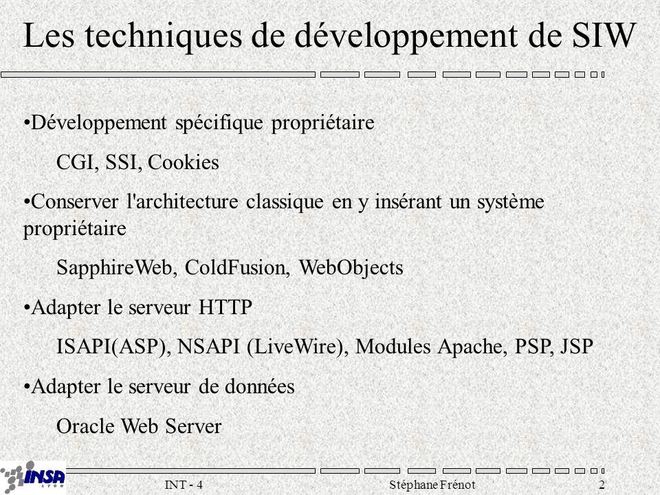 Stéphane Frénot2INT - 4 Les techniques de développement de SIW Développement spécifique propriétaire CGI, SSI, Cookies Conserver l architecture classique en y insérant un système propriétaire SapphireWeb, ColdFusion, WebObjects Adapter le serveur HTTP ISAPI(ASP), NSAPI (LiveWire), Modules Apache, PSP, JSP Adapter le serveur de données Oracle Web Server