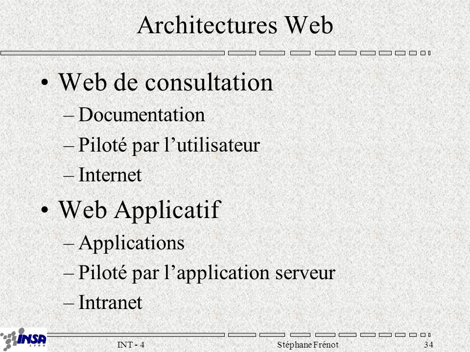 Stéphane Frénot34INT - 4 Architectures Web Web de consultation –Documentation –Piloté par lutilisateur –Internet Web Applicatif –Applications –Piloté par lapplication serveur –Intranet