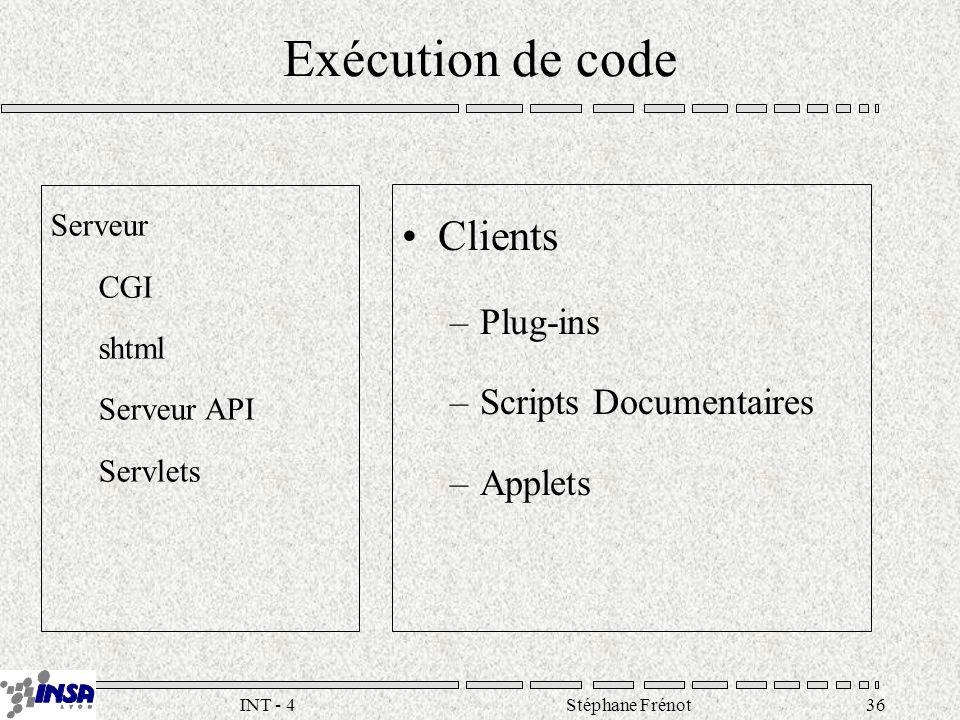 Stéphane Frénot36INT - 4 Serveur CGI shtml Serveur API Servlets Clients –Plug-ins –Scripts Documentaires –Applets Exécution de code