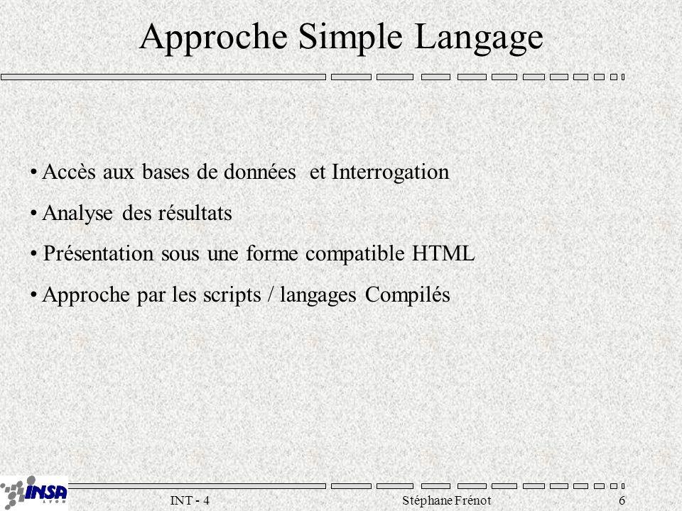Stéphane Frénot17INT - 4 SSI Server Side Include (.shtml) –Tag interprété par le serveur : – –Commandes : – – (virtual) – (cgi) –Extensions : –php3 : http://www.php3.net –Microsoft : ASP … –Utilisation : ?