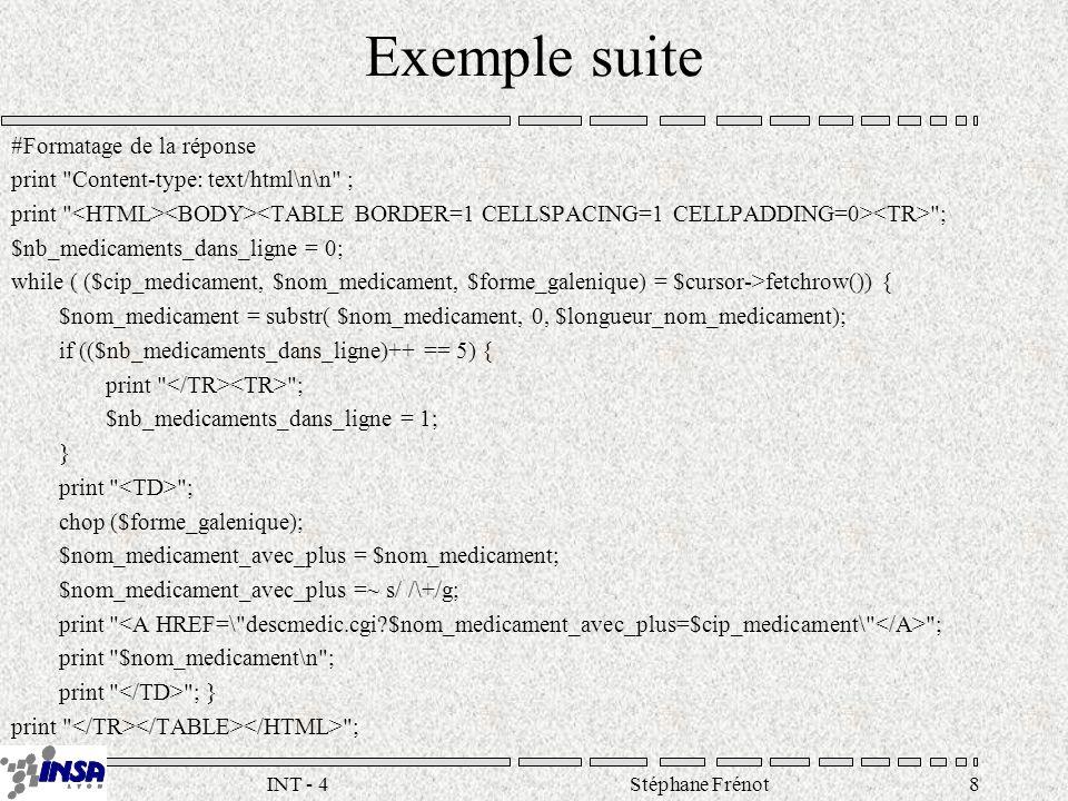 Stéphane Frénot19INT - 4 Approches propriétaires Conserver l architecture classique en y insérant un système propriétaire –SapphireWeb, ColdFusion, WebObjects Adapter le serveur HTTP –ISAPI(ASP), NSAPI (LiveWire), Modules Apache Adapter le serveur de données –Oracle Web Server, MIIS
