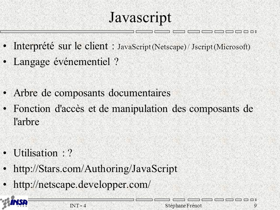 Stéphane Frénot30INT - 4 Exemple demo.idc DataSource: INSA UserName : wwwapp Passwor d : ????.