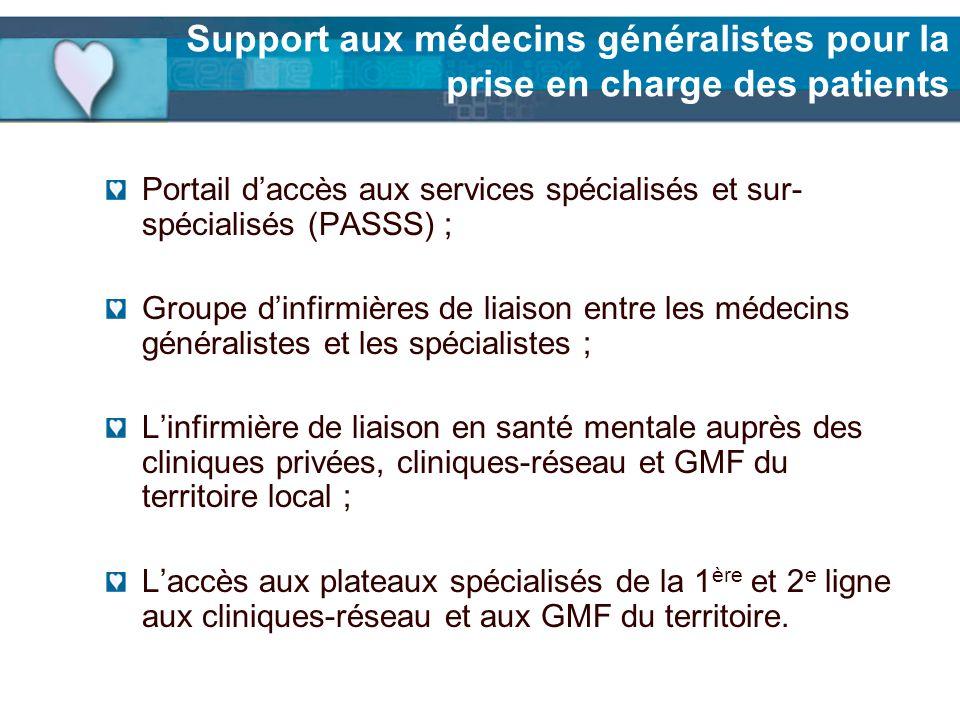 Support aux médecins généralistes pour la prise en charge des patients Portail daccès aux services spécialisés et sur- spécialisés (PASSS) ; Groupe di