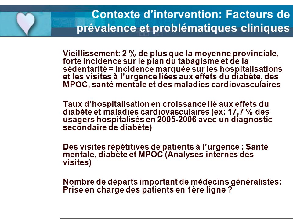 Contexte dintervention: Facteurs de prévalence et problématiques cliniques Vieillissement: 2 % de plus que la moyenne provinciale, forte incidence sur
