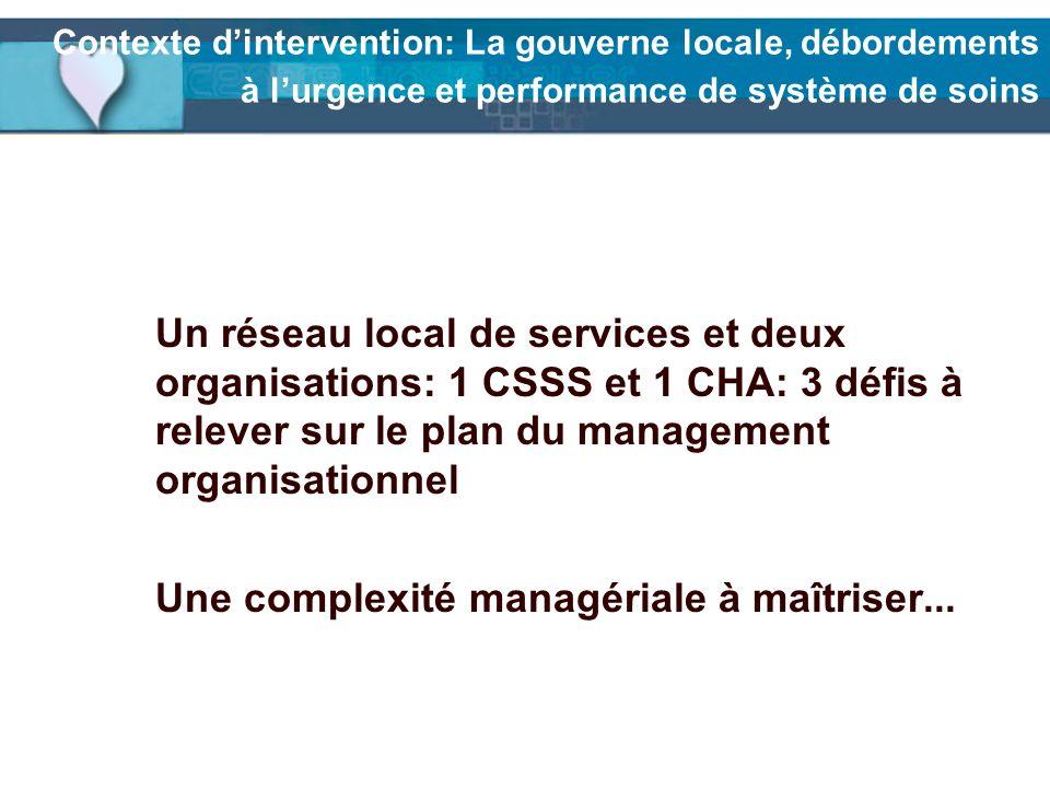 Contexte dintervention: La gouverne locale, débordements à lurgence et performance de système de soins Un réseau local de services et deux organisatio