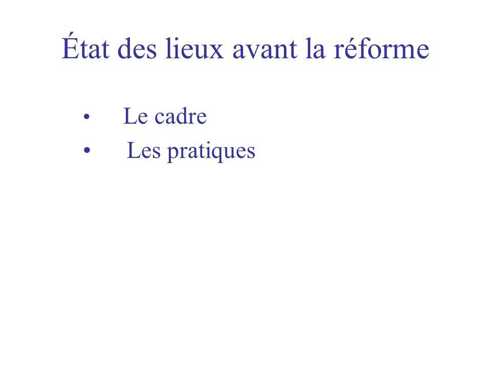 État des lieux avant la réforme Le cadre Les pratiques