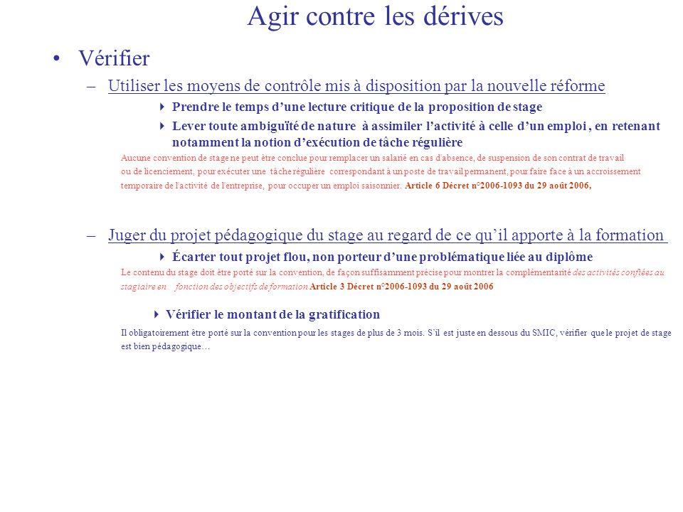 Agir contre les dérives Vérifier –Utiliser les moyens de contrôle mis à disposition par la nouvelle réforme Prendre le temps dune lecture critique de