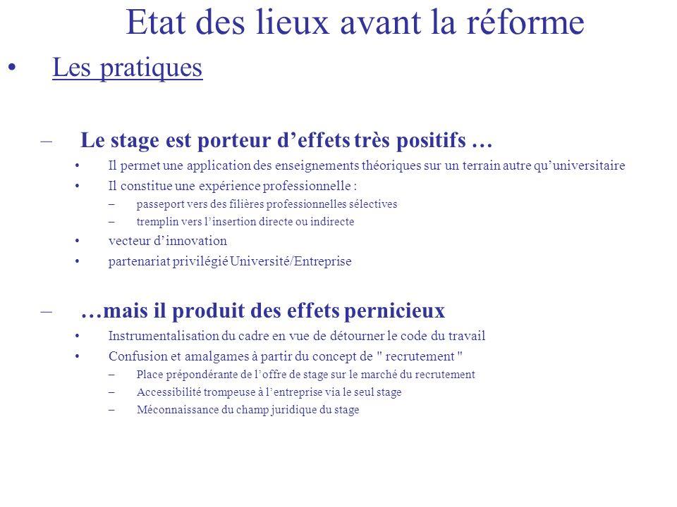 Etat des lieux avant la réforme Les pratiques –Le stage est porteur deffets très positifs … Il permet une application des enseignements théoriques sur
