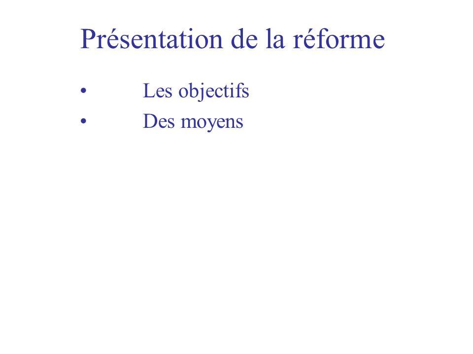 Présentation de la réforme Les objectifs Des moyens