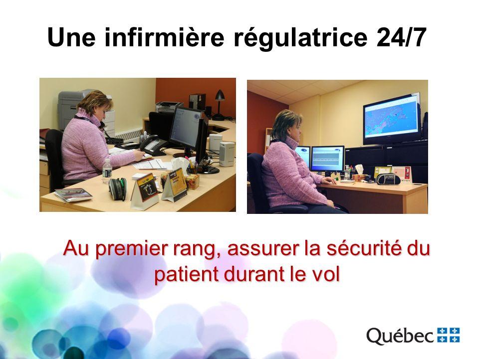 Une infirmière régulatrice 24/7 Au premier rang, assurer la sécurité du patient durant le vol