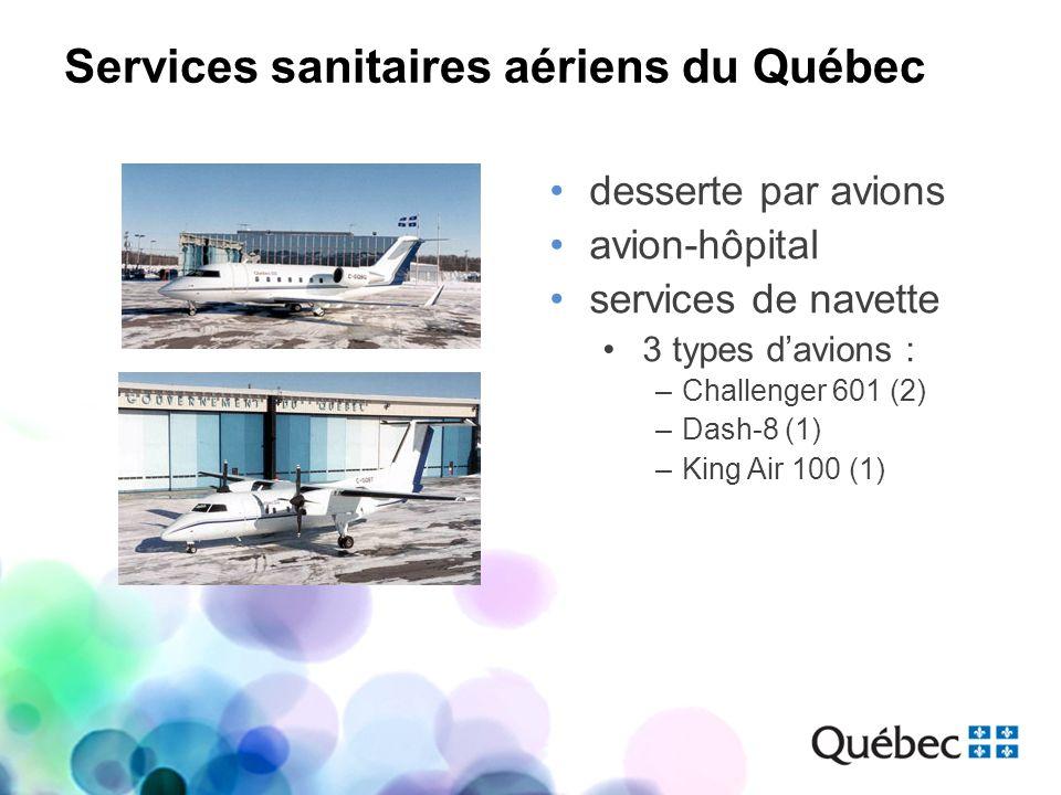 Services sanitaires aériens du Québec desserte par avions avion-hôpital services de navette 3 types davions : –Challenger 601 (2) –Dash-8 (1) –King Ai