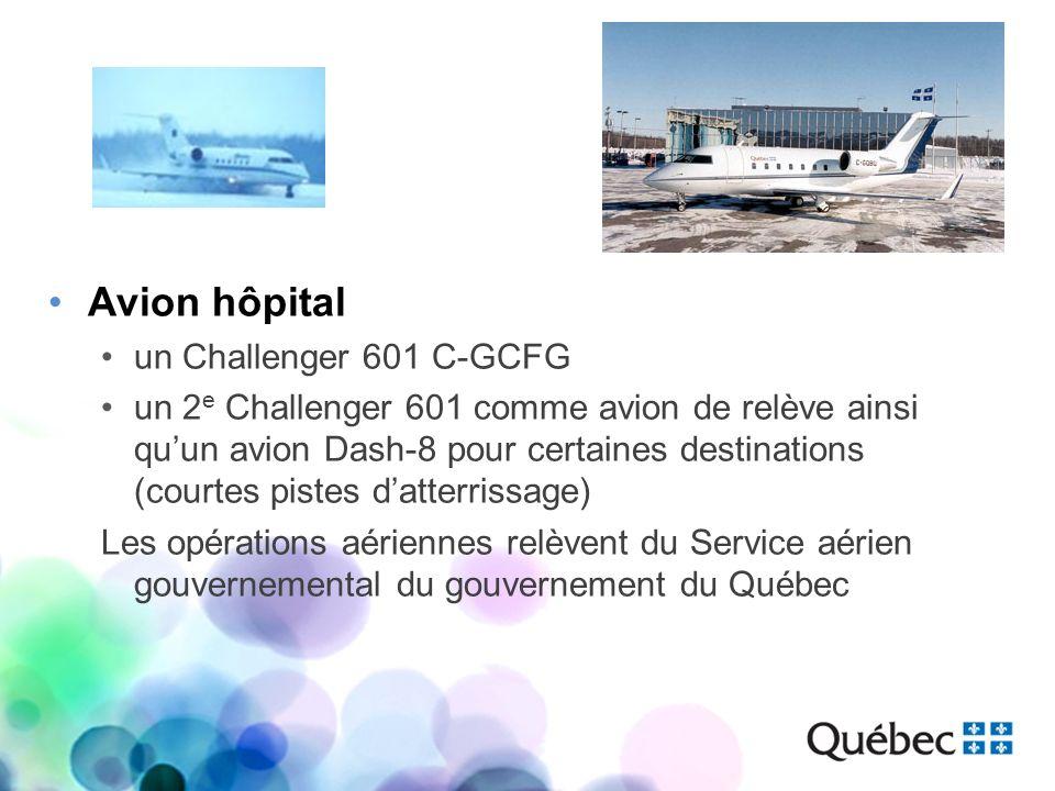 Avion hôpital un Challenger 601 C-GCFG un 2 e Challenger 601 comme avion de relève ainsi quun avion Dash-8 pour certaines destinations (courtes pistes