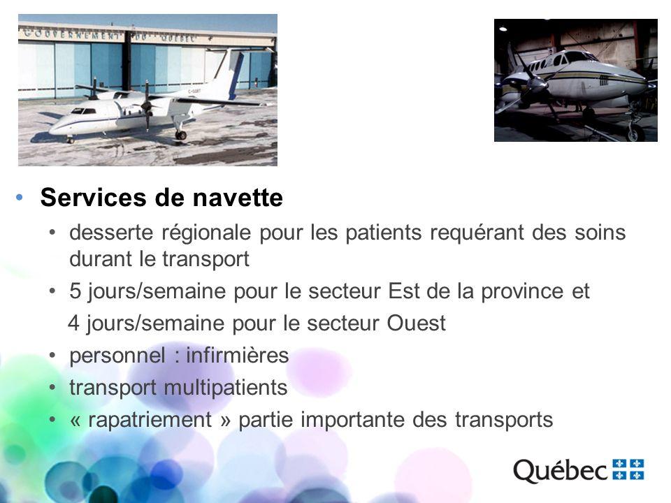 Services de navette desserte régionale pour les patients requérant des soins durant le transport 5 jours/semaine pour le secteur Est de la province et