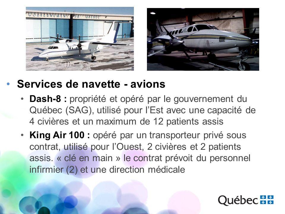 Services de navette - avions Dash-8 : propriété et opéré par le gouvernement du Québec (SAG), utilisé pour lEst avec une capacité de 4 civières et un