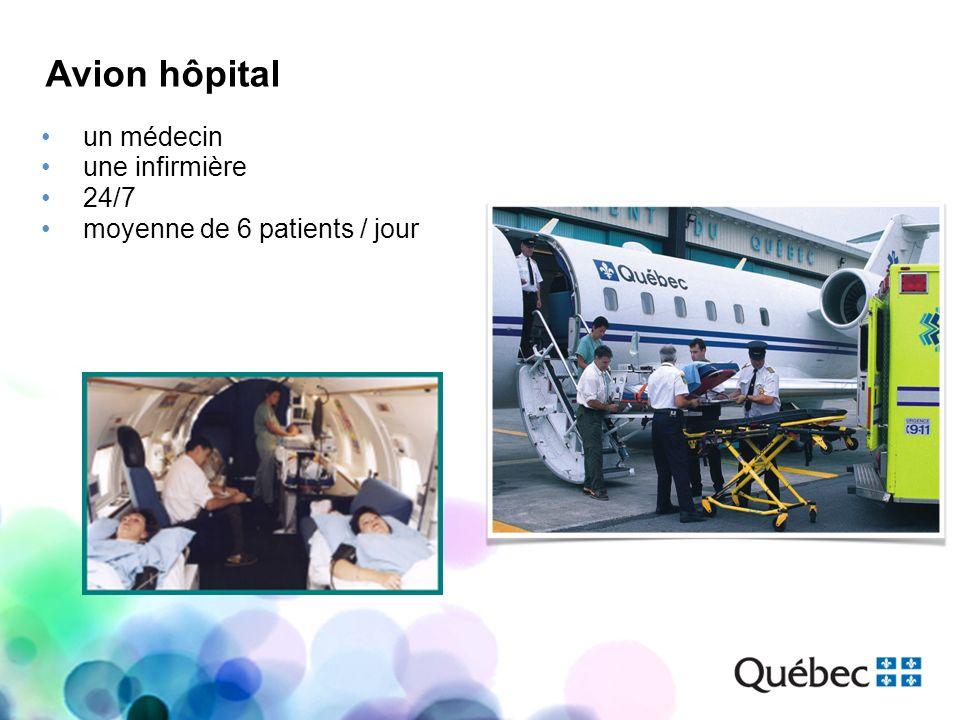 un médecin une infirmière 24/7 moyenne de 6 patients / jour Avion hôpital