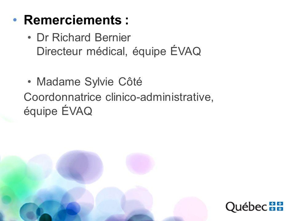 Remerciements : Dr Richard Bernier Directeur médical, équipe ÉVAQ Madame Sylvie Côté Coordonnatrice clinico-administrative, équipe ÉVAQ