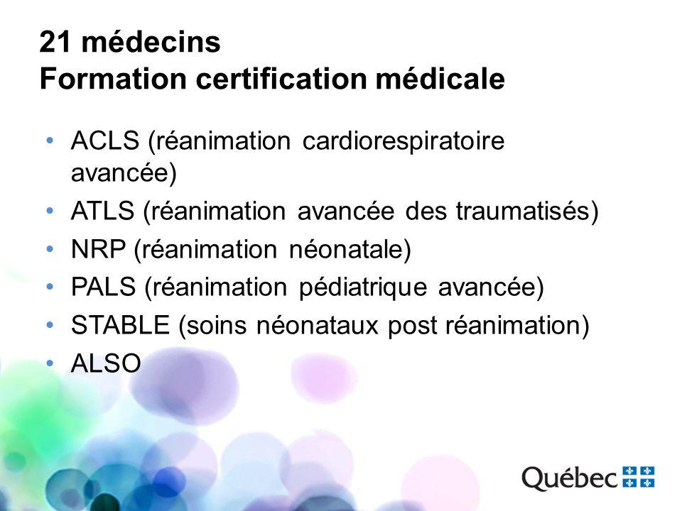 21 médecins Formation certification médicale ACLS (réanimation cardiorespiratoire avancée) ATLS (réanimation avancée des traumatisés) NRP (réanimation
