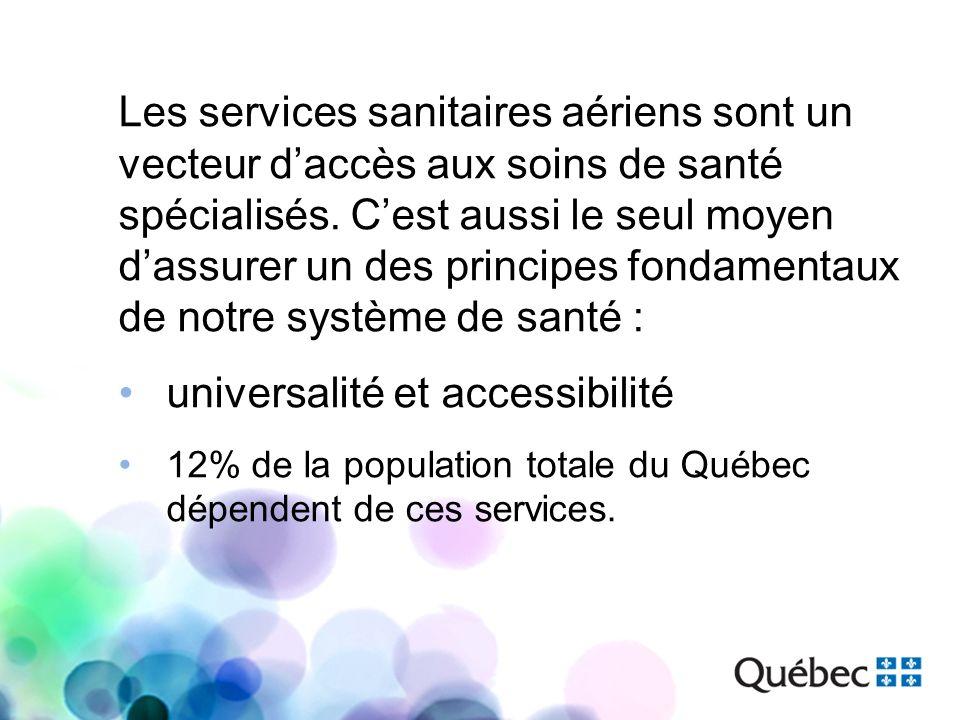 Les services sanitaires aériens sont un vecteur daccès aux soins de santé spécialisés. Cest aussi le seul moyen dassurer un des principes fondamentaux