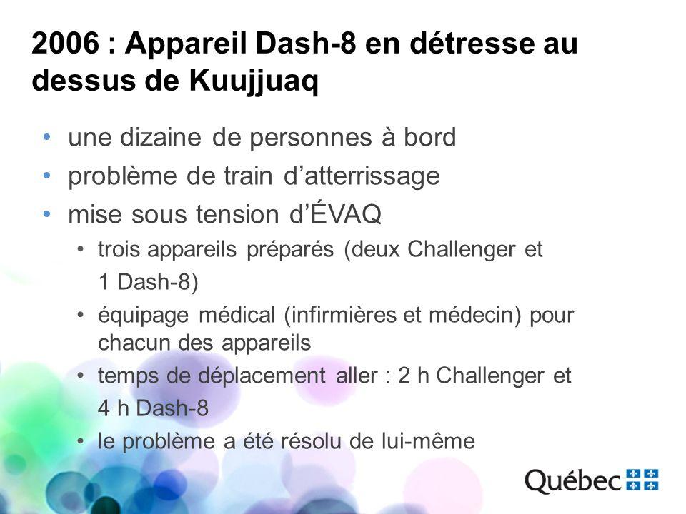 2006 : Appareil Dash-8 en détresse au dessus de Kuujjuaq une dizaine de personnes à bord problème de train datterrissage mise sous tension dÉVAQ trois