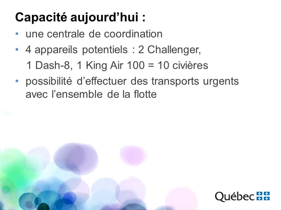 Capacité aujourdhui : une centrale de coordination 4 appareils potentiels : 2 Challenger, 1 Dash-8, 1 King Air 100 = 10 civières possibilité deffectue