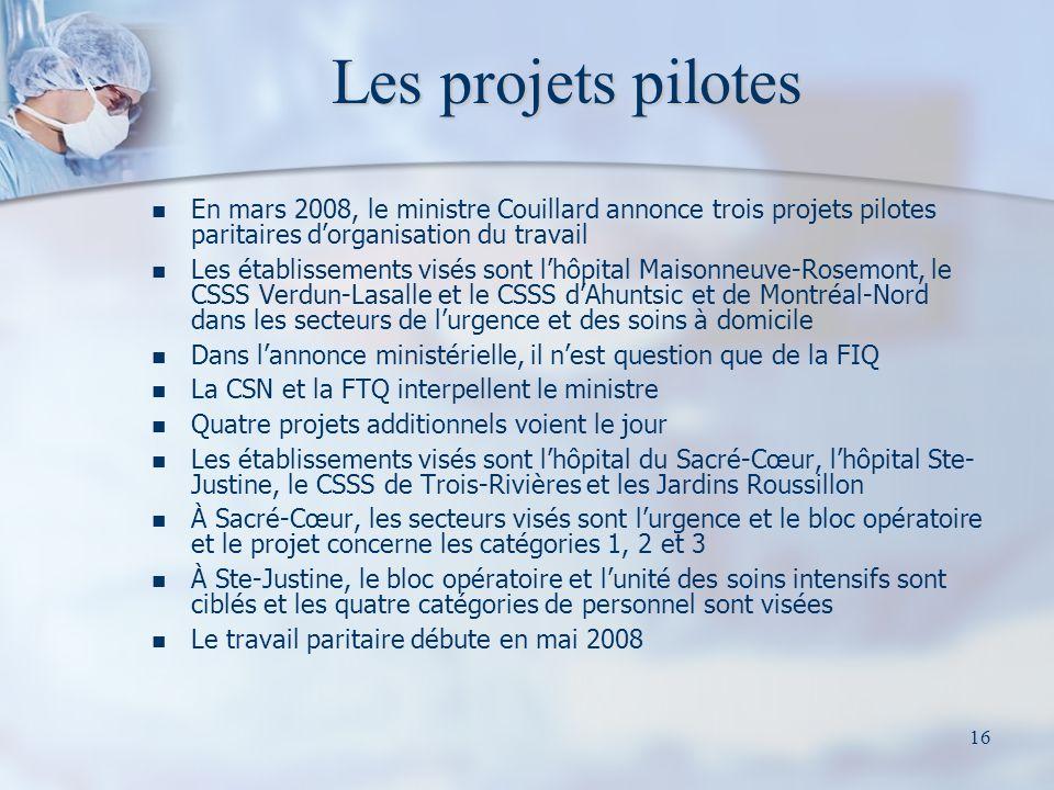16 Les projets pilotes En mars 2008, le ministre Couillard annonce trois projets pilotes paritaires dorganisation du travail Les établissements visés
